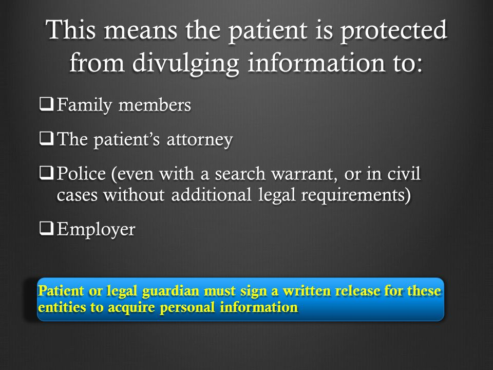 This means the patient is protected from divulging information to: