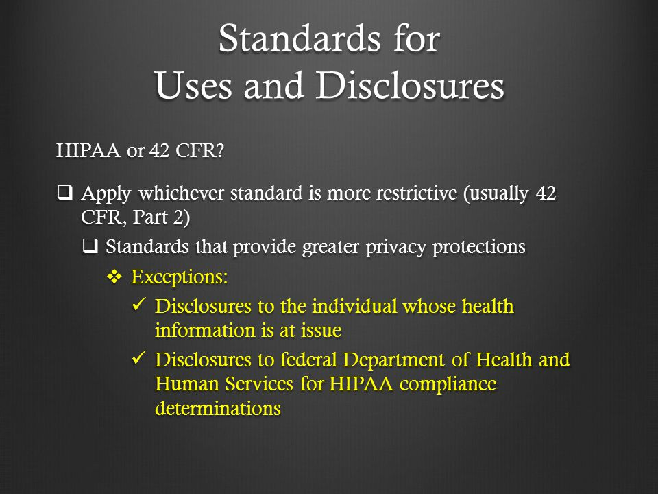 Standards for Uses and Disclosures