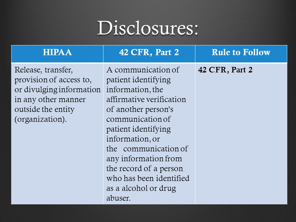 Disclosures: HIPAA 42 CFR, Part 2 Rule to Follow