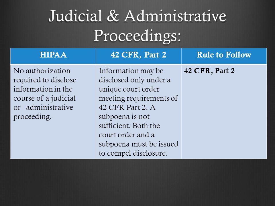 Judicial & Administrative Proceedings: