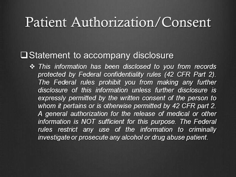 Patient Authorization/Consent