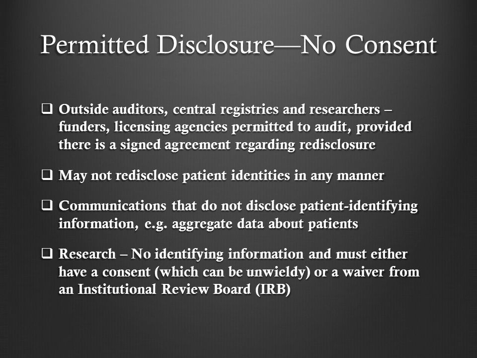 Permitted Disclosure—No Consent