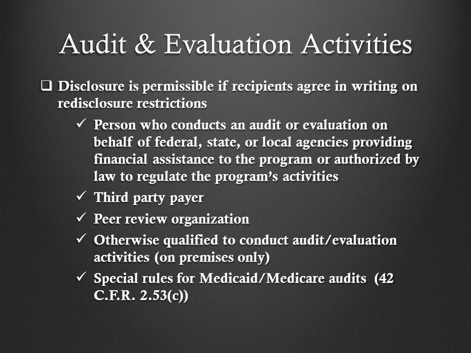 Audit & Evaluation Activities
