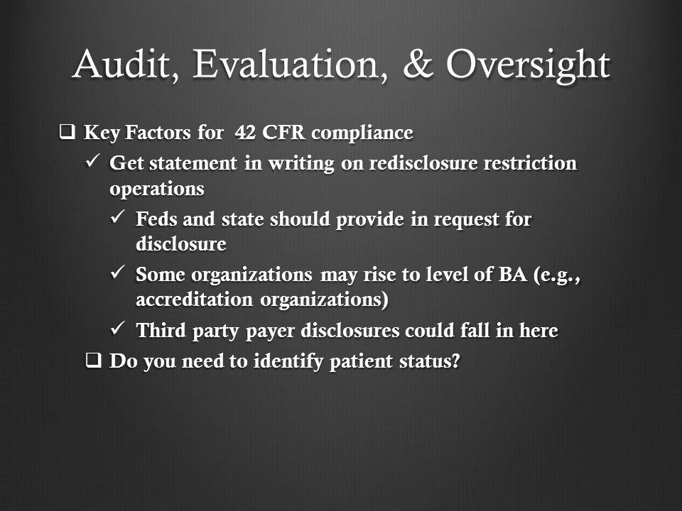 Audit, Evaluation, & Oversight