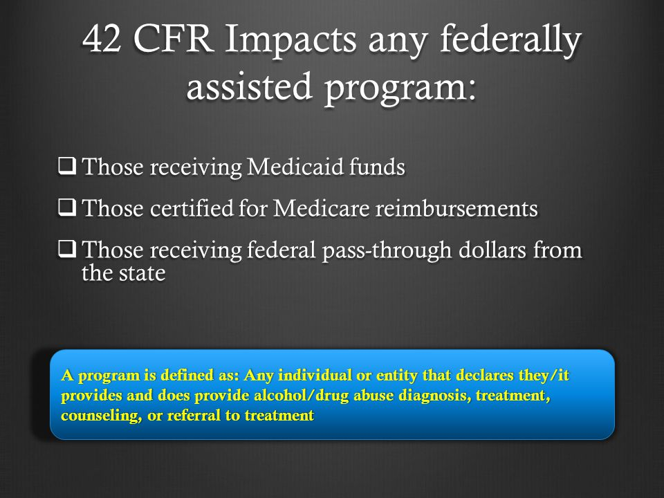 42 CFR Impacts any federally assisted program:
