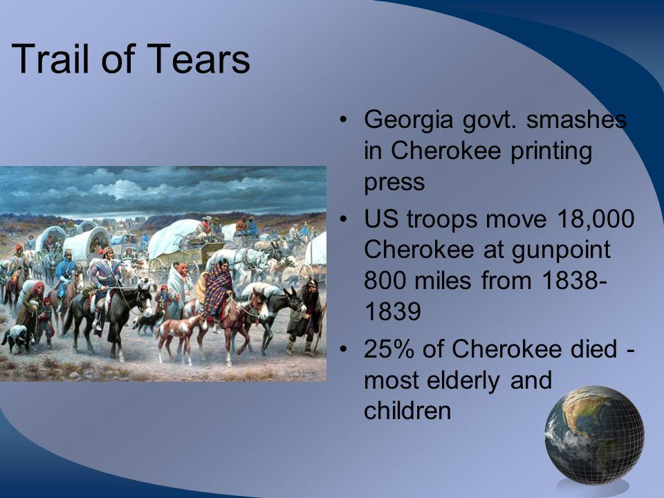 Trail of Tears Georgia govt. smashes in Cherokee printing press