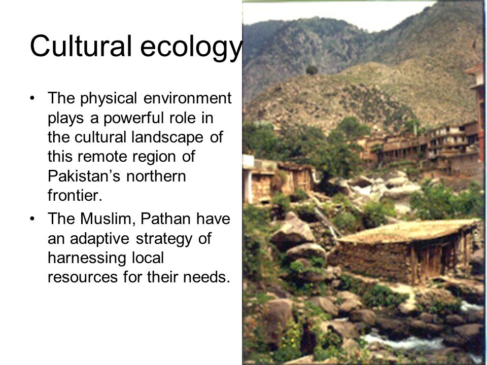 Cultural ecology The physical environment plays a powerful role in the cultural landscape of this remote region of Pakistan's northern frontier.
