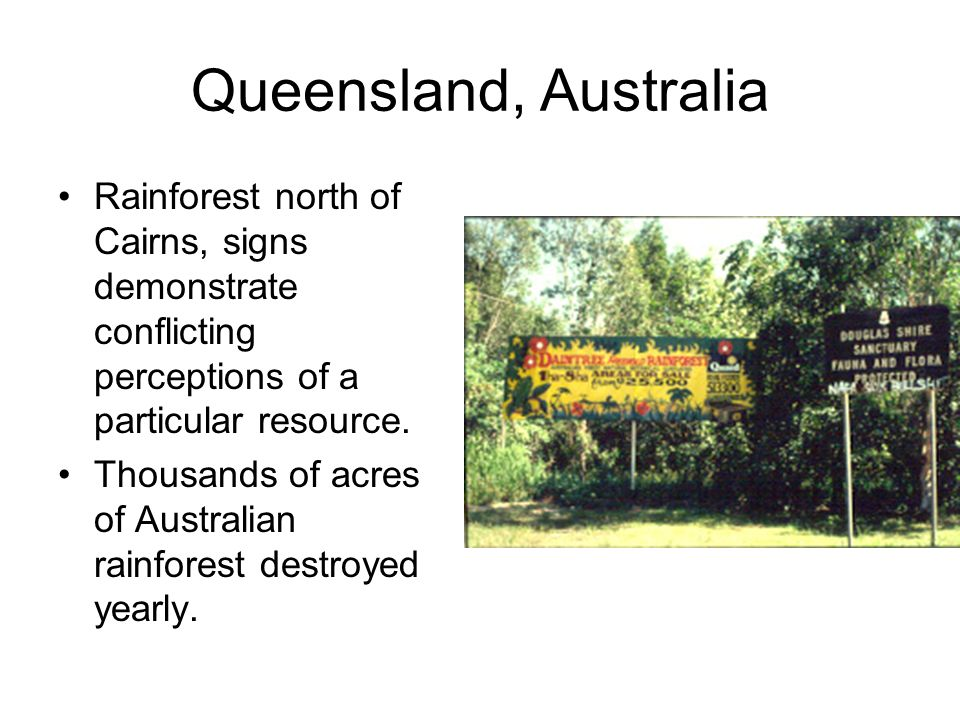 Queensland, Australia Rainforest north of Cairns, signs demonstrate conflicting perceptions of a particular resource.