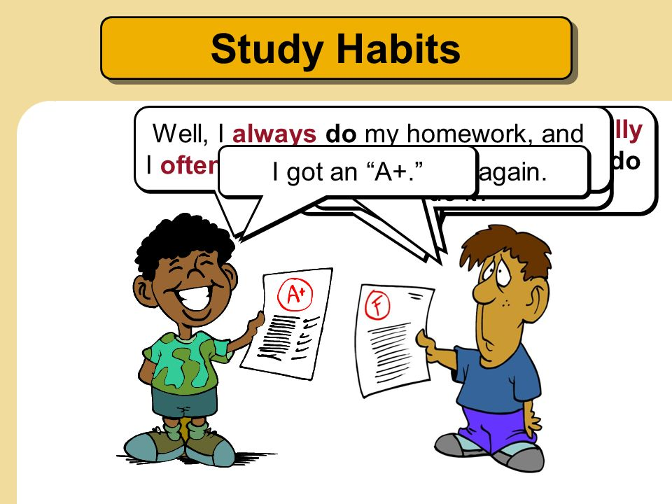 Study Habits Well, I always do my homework, and I often ask the teacher for help.