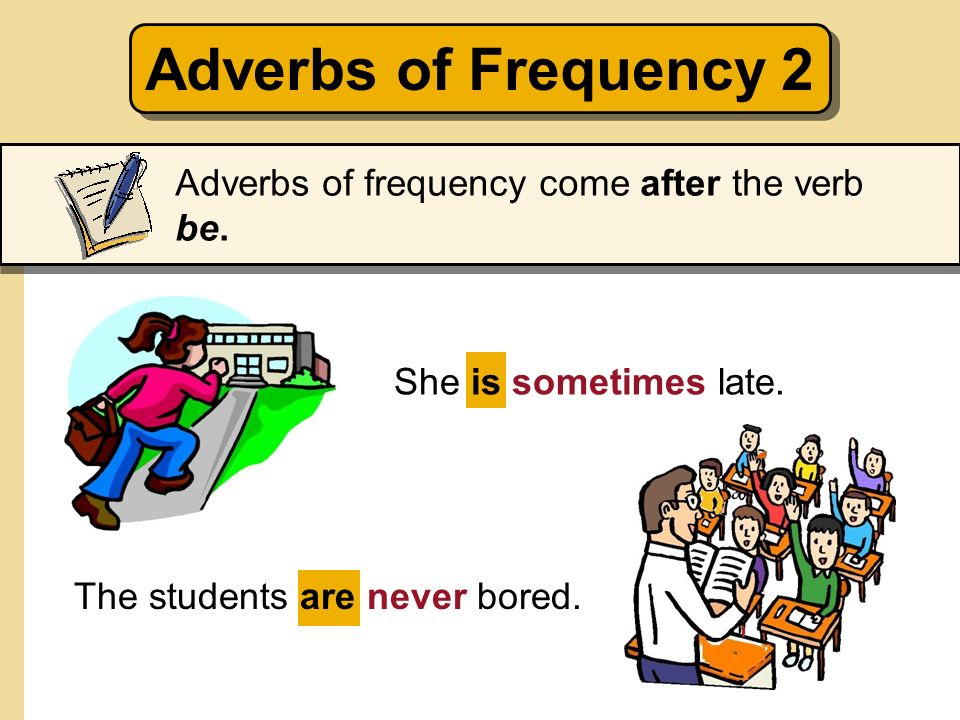 Adverbs of Frequency 2 Adverbs of frequency come after the verb be.