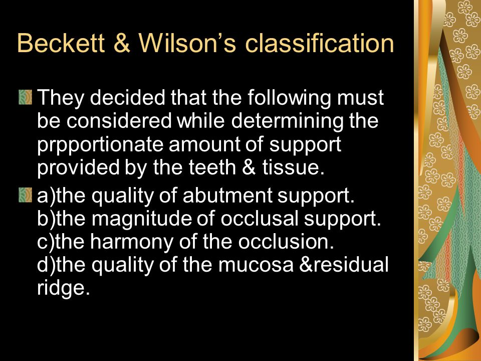 Beckett & Wilson's classification