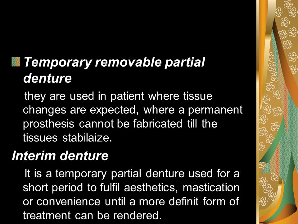 Temporary removable partial denture