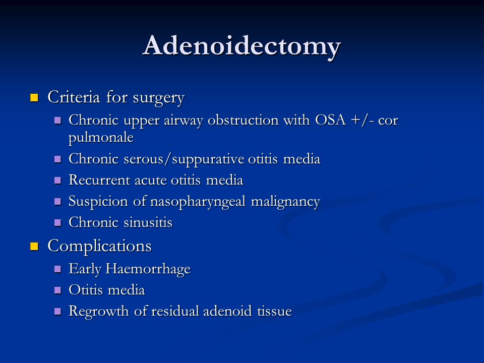 Adenoidectomy Criteria for surgery Complications