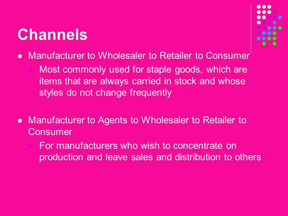 Channels Manufacturer to Wholesaler to Retailer to Consumer