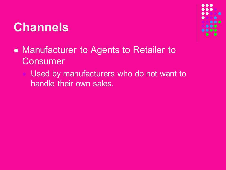 Channels Manufacturer to Agents to Retailer to Consumer
