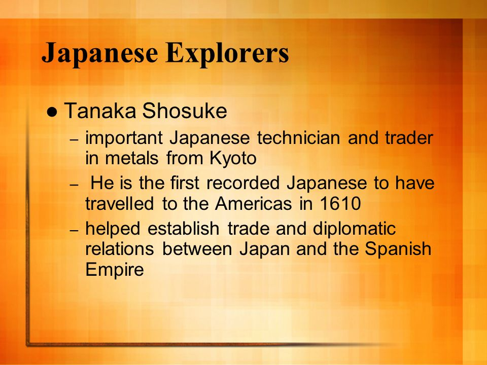 Japanese Explorers Tanaka Shosuke