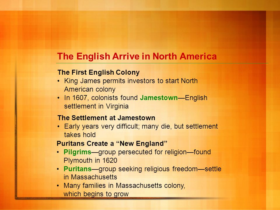 The English Arrive in North America