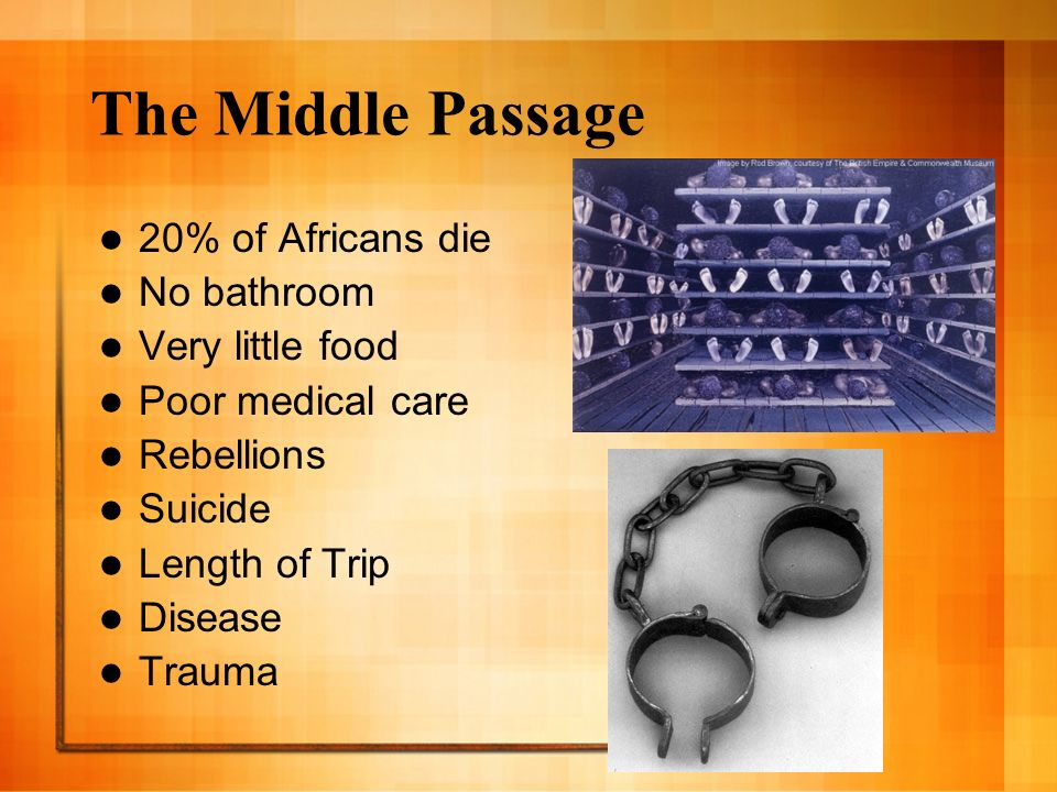 The Middle Passage 20% of Africans die No bathroom Very little food