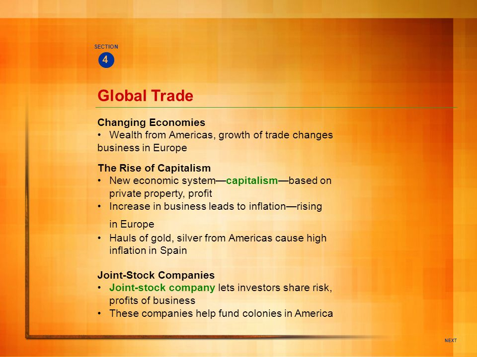 Global Trade in Europe 4 Changing Economies