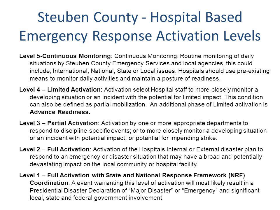 Steuben County - Hospital Based Emergency Response Activation Levels