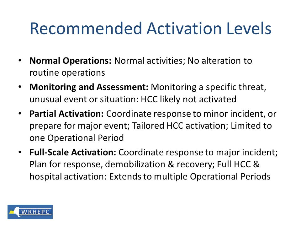 Recommended Activation Levels