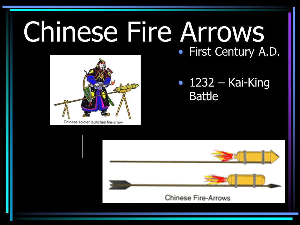 Chinese Fire Arrows First Century A.D. 1232 – Kai-King Battle