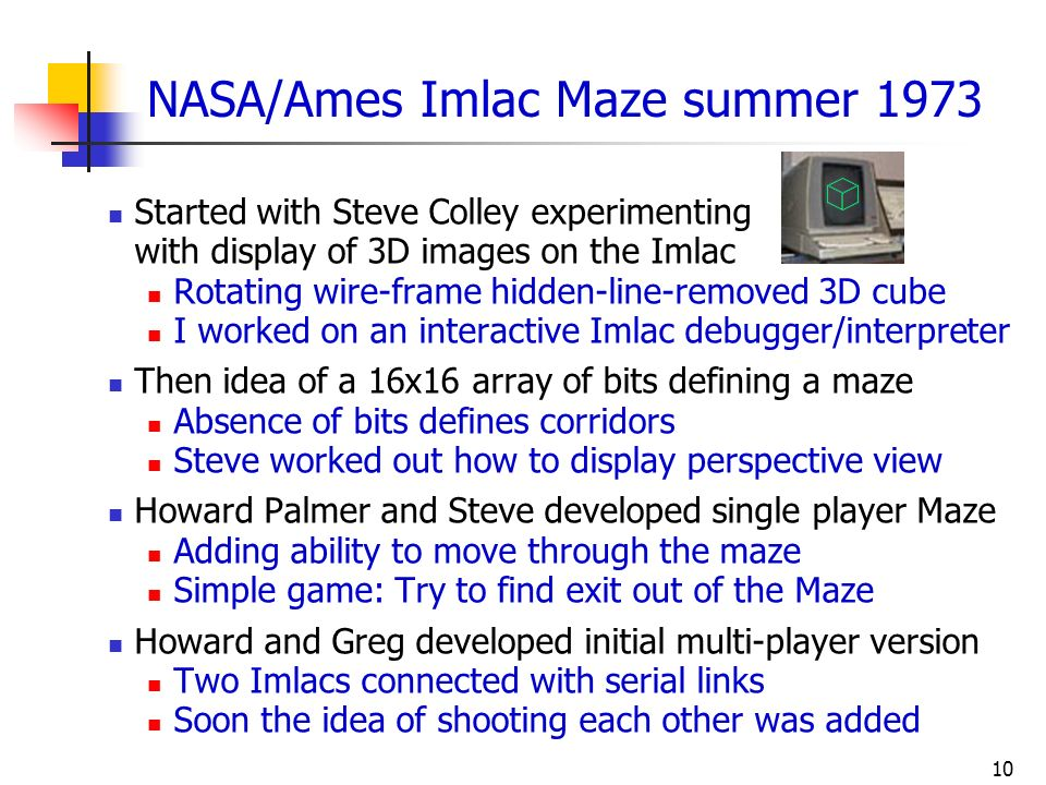 NASA/Ames Imlac Maze summer 1973