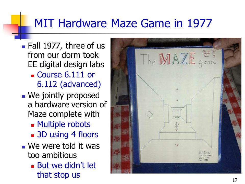 MIT Hardware Maze Game in 1977