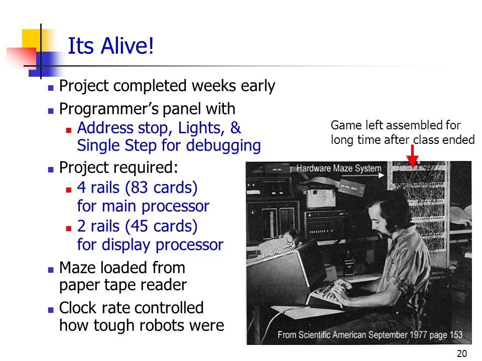 Its Alive! Project completed weeks early Programmer's panel with