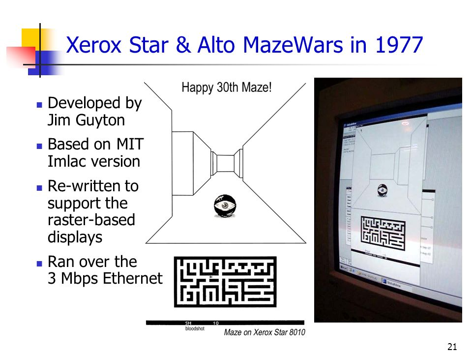 Xerox Star & Alto MazeWars in 1977
