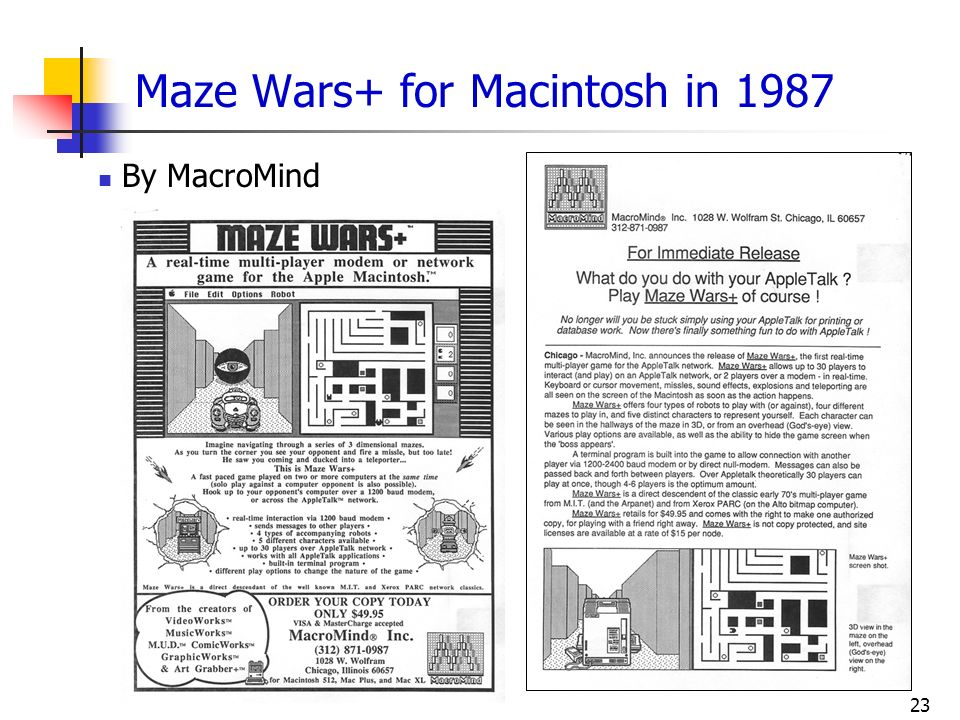 Maze Wars+ for Macintosh in 1987
