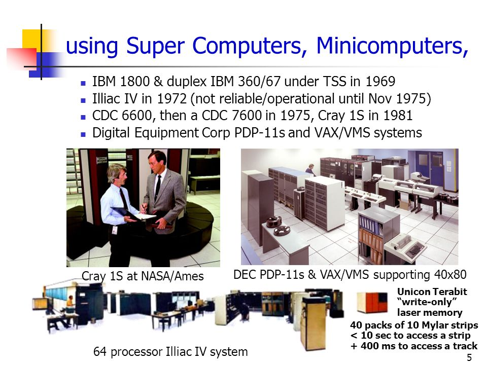 using Super Computers, Minicomputers,