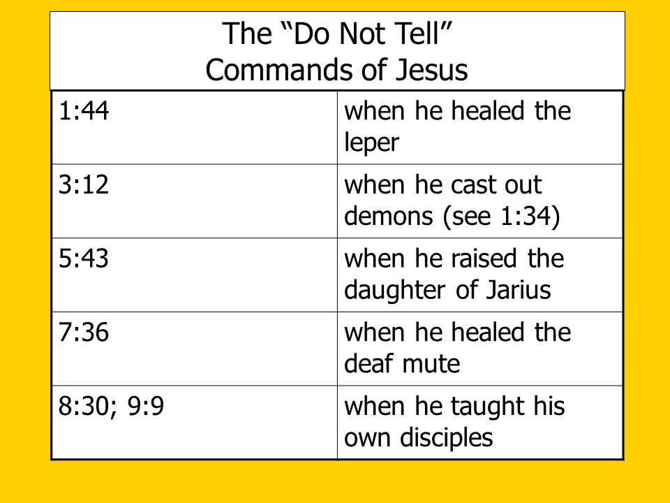 The Do Not Tell Commands of Jesus 1:44 when he healed the leper 3:12