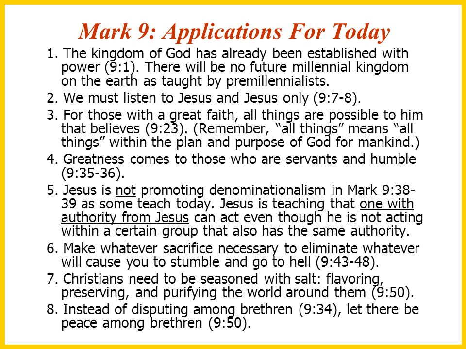 Mark 9: Applications For Today