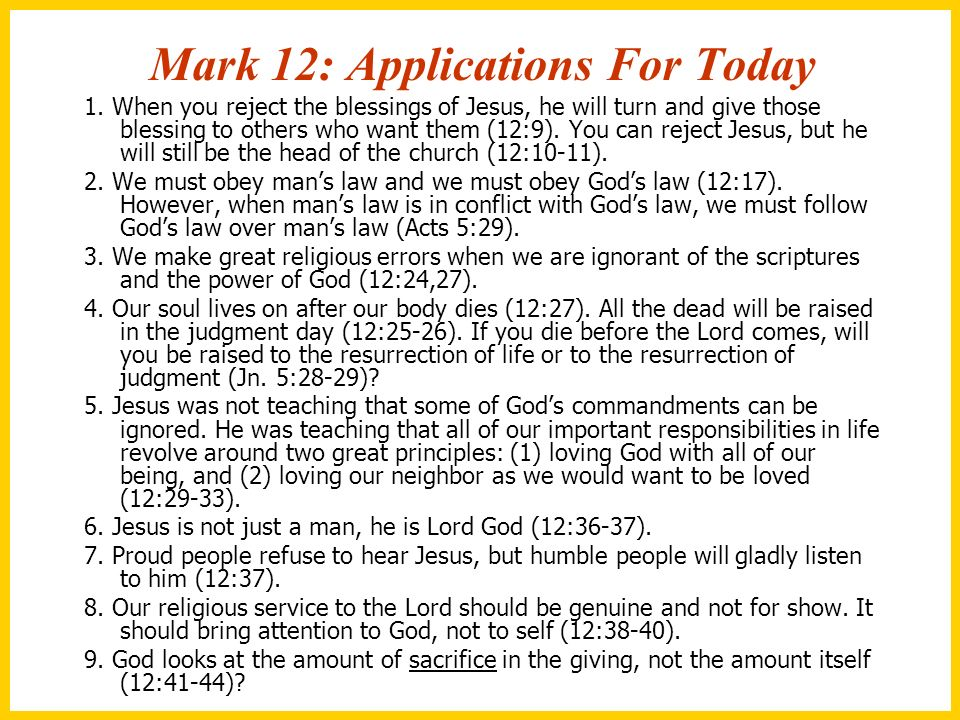 Mark 12: Applications For Today
