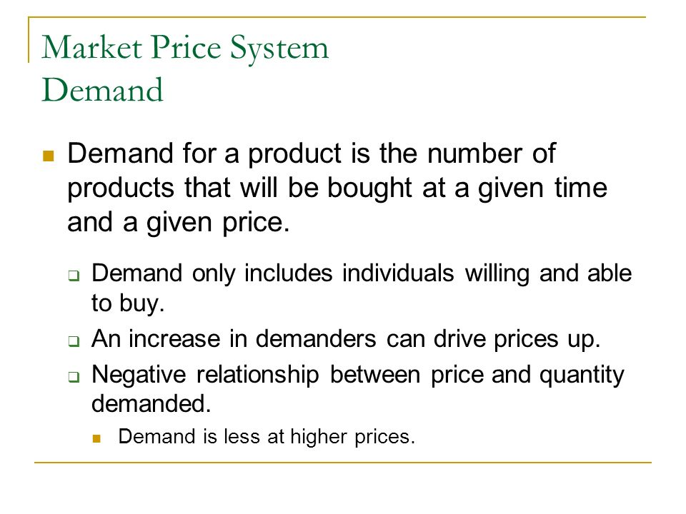 Market Price System Demand