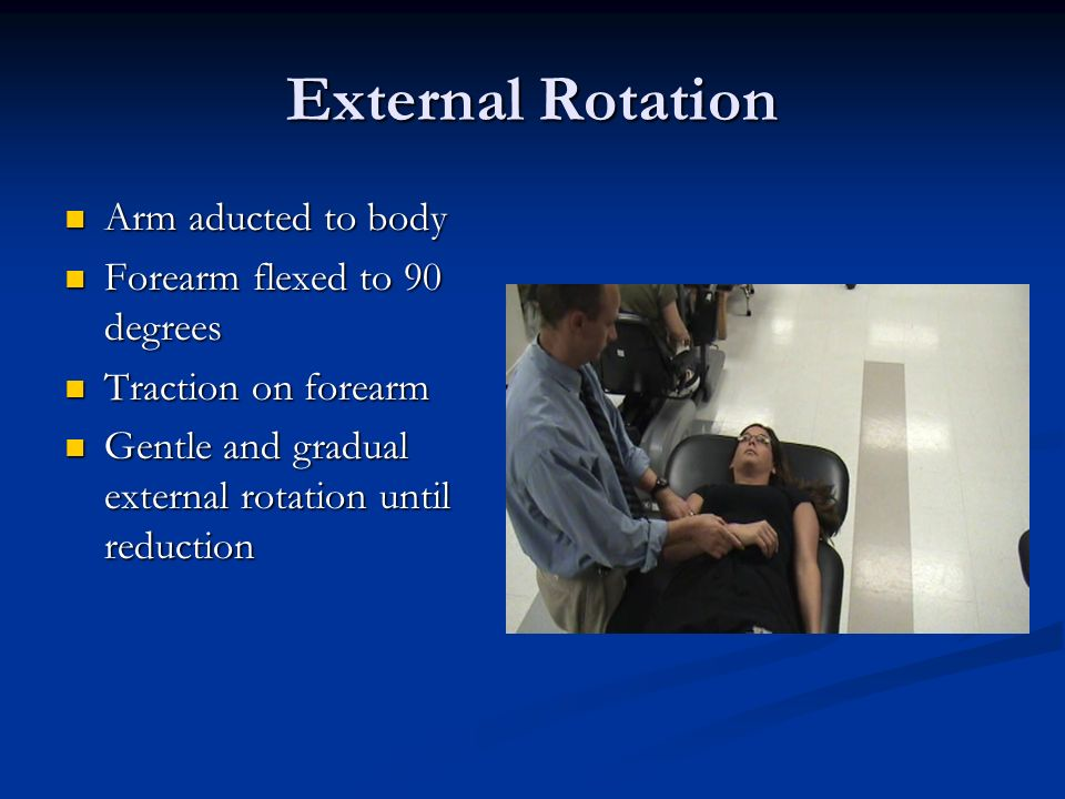 External Rotation Arm aducted to body Forearm flexed to 90 degrees