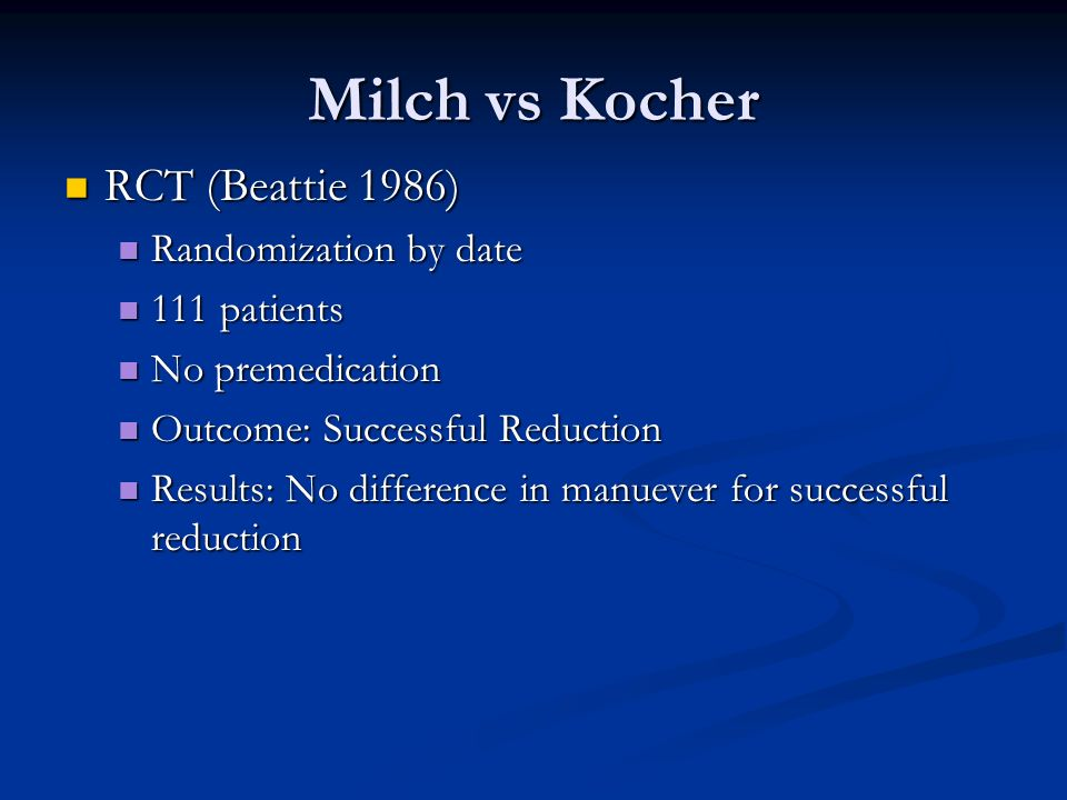 Milch vs Kocher RCT (Beattie 1986) Randomization by date 111 patients