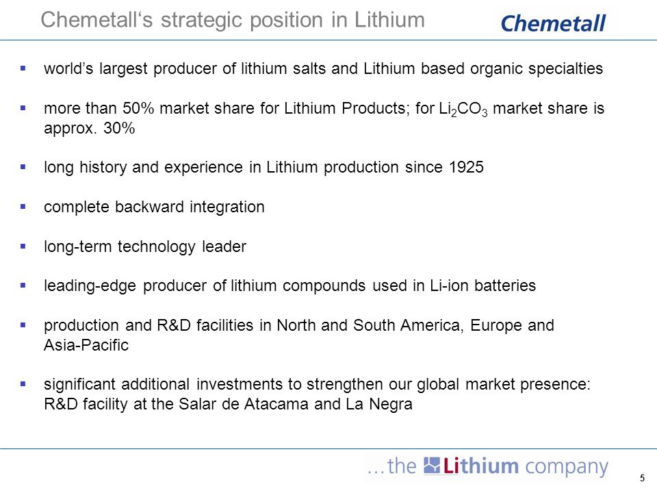 Chemetall's strategic position in Lithium
