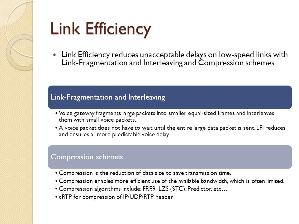 Link Efficiency Link Efficiency reduces unacceptable delays on low-speed links with Link-Fragmentation and Interleaving and Compression schemes.