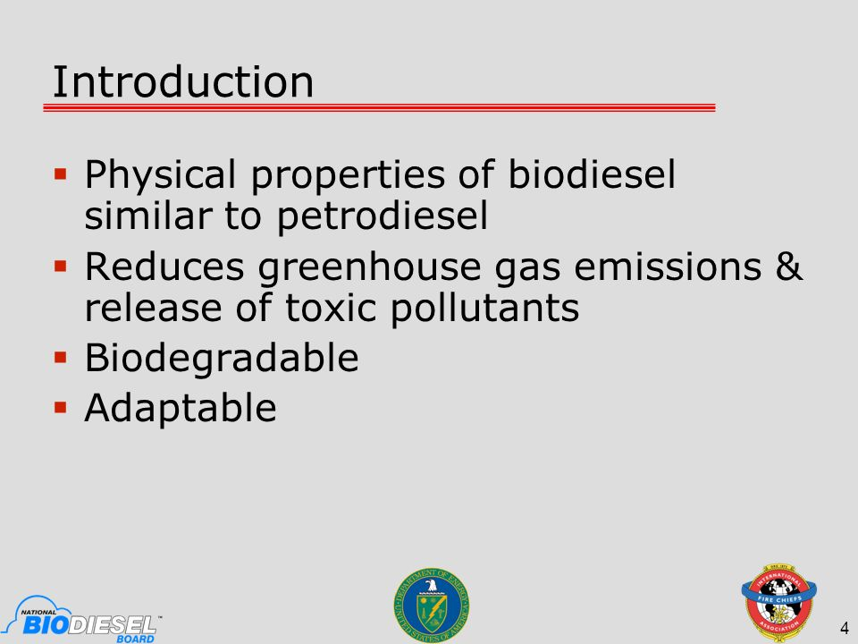 Introduction Physical properties of biodiesel similar to petrodiesel
