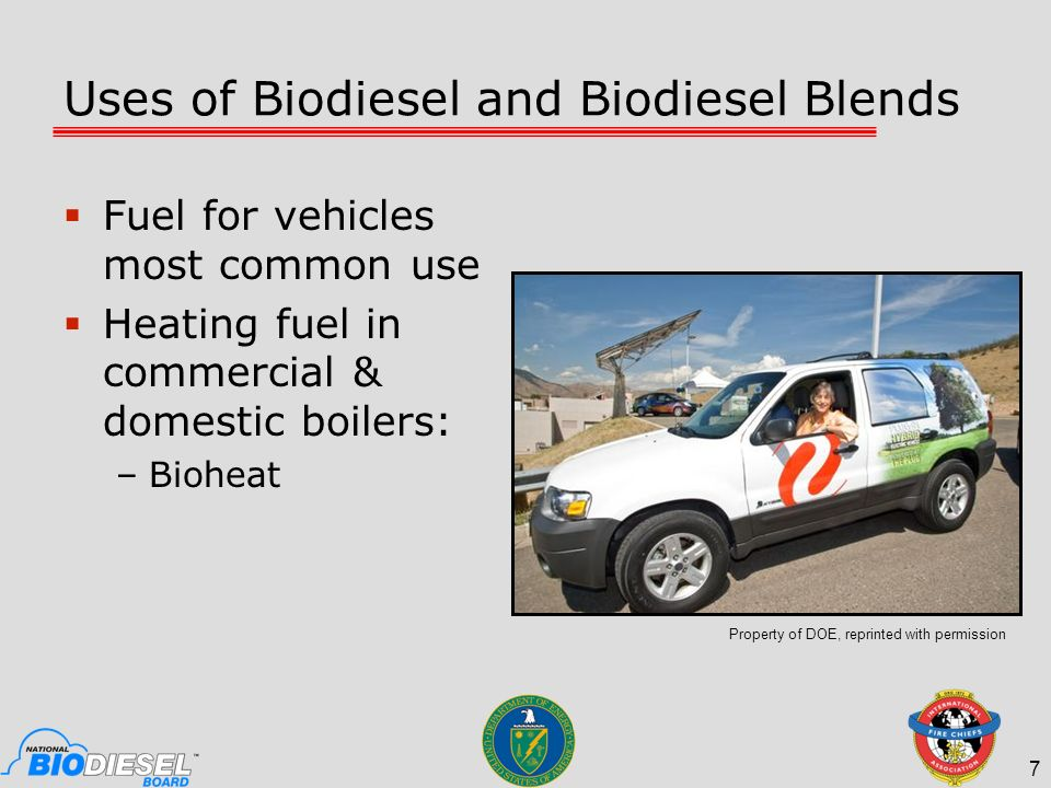 Uses of Biodiesel and Biodiesel Blends