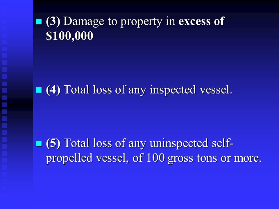 (3) Damage to property in excess of $100,000