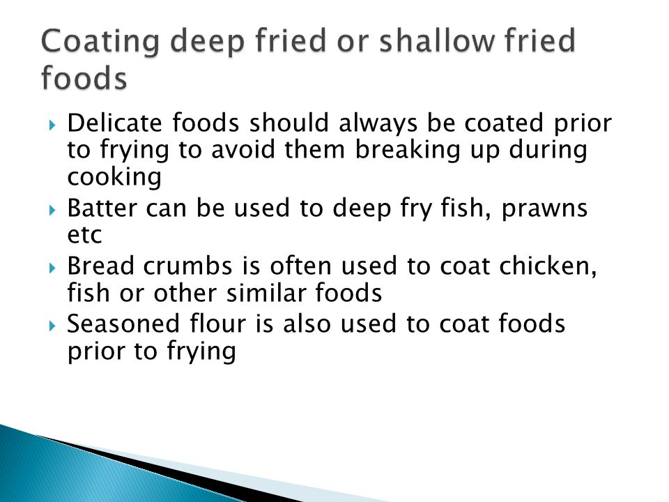 Coating deep fried or shallow fried foods
