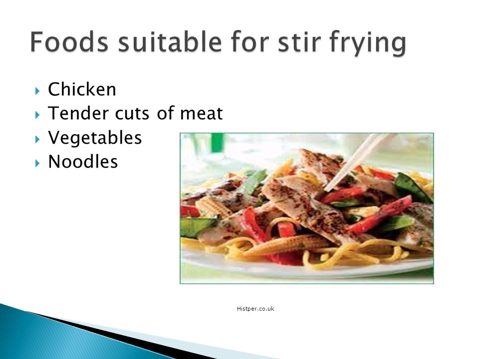 Foods suitable for stir frying