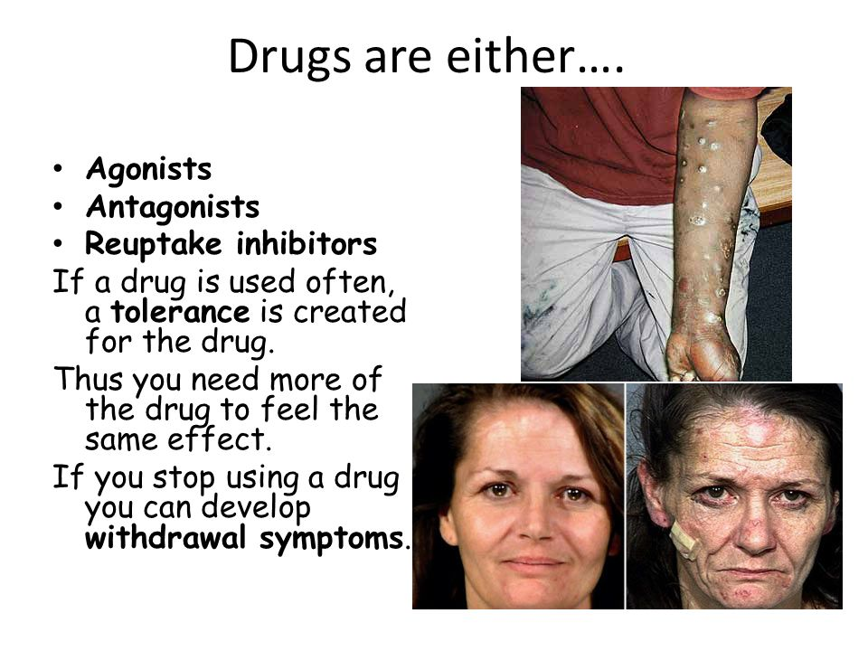 Drugs are either…. Agonists Antagonists Reuptake inhibitors