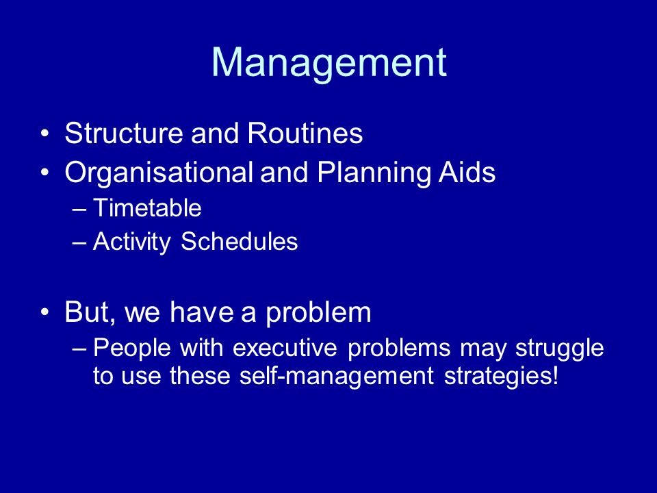 Management Structure and Routines Organisational and Planning Aids