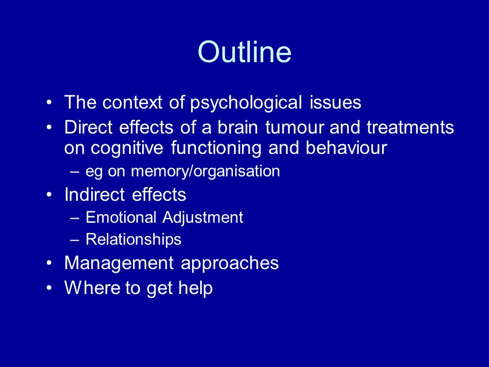 Outline The context of psychological issues
