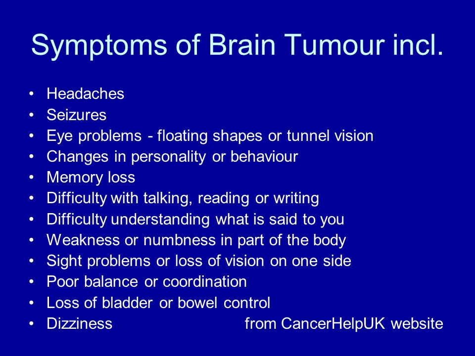 Symptoms of Brain Tumour incl.