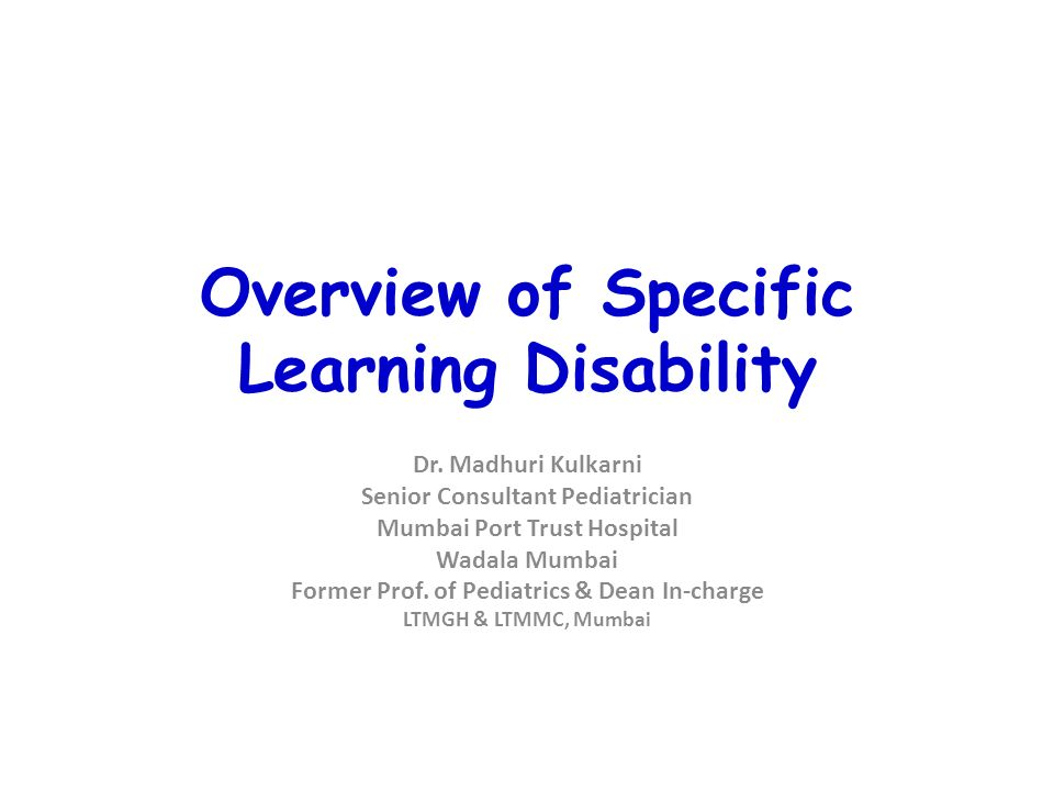 Overview of Specific Learning Disability